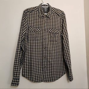 H&M Plaid Navy Blue Striped Long Sleeve Button Up